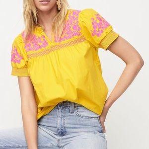 J. Crew Embroidered Cotton Poplin Puff Sleeve Top